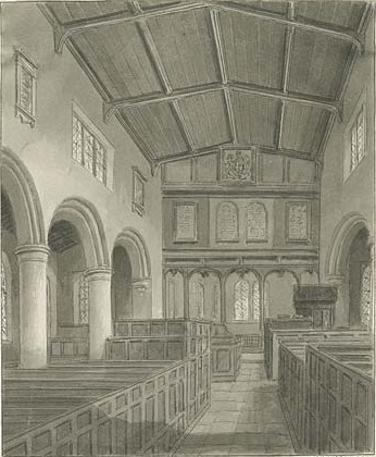 St Peters Church drawing of the interior 1844